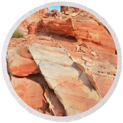 Orange Valley In Valley Of Fire Round Beach Towel