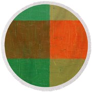 Orange With Brown And Teal Round Beach Towel by Michelle Calkins