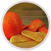 Oranges 01 Round Beach Towel by Wally Hampton