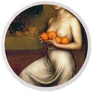 Oranges And Lemons Round Beach Towel by Julio Romero de Torres