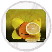 Oranges And Lemons Round Beach Towel by Shirley Mangini