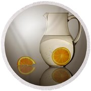 Oranges And Water Pitcher Round Beach Towel