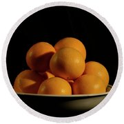 Round Beach Towel featuring the photograph Oranges by Angie Tirado