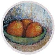 Oranges In Celadon Bowl Round Beach Towel