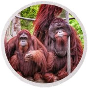 Orangutan Couple Round Beach Towel