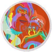 Orangutan Mom And Baby Round Beach Towel