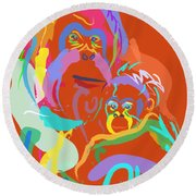 Orangutan Mom And Baby Round Beach Towel