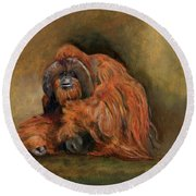 Orangutan Monkey Round Beach Towel