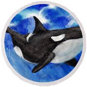 Orca Baby Round Beach Towel