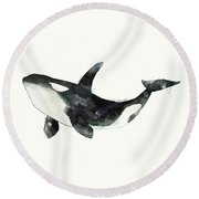 Orca From Arctic And Antarctic Chart Round Beach Towel by Amy Hamilton