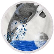 Round Beach Towel featuring the drawing Orca by Mayhem Mediums