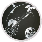 Orca Sillhouette Round Beach Towel by Mayhem Mediums
