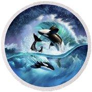 Orca Wave Round Beach Towel