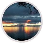 Orcas Island Sunset Round Beach Towel