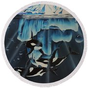 Round Beach Towel featuring the painting Orcas Versus Glacier by Dianna Lewis
