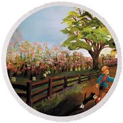 Orchard And Barn Round Beach Towel
