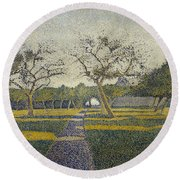 Orchard At La Louviere Round Beach Towel