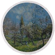 Orchard In Spring Round Beach Towel