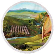 Orchard Valley Round Beach Towel