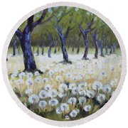 Orchard With Dandelions Round Beach Towel