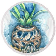 Orchid And Barnacle Round Beach Towel