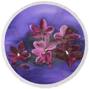 Orchid Blossoms On A Stem Round Beach Towel