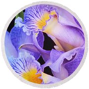 Orchid Bouquet Round Beach Towel by Cindy Manero