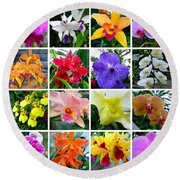 Orchid Collage Round Beach Towel