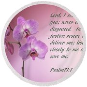 Orchid In The Pink Psalms 71 Round Beach Towel by Linda Phelps
