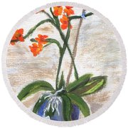 Round Beach Towel featuring the painting Orchid by Jamie Frier
