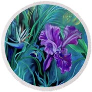Orchid Jungle Round Beach Towel
