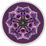 Orchid Lotus Round Beach Towel