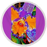 Orchid Psychedelic Round Beach Towel