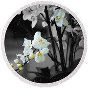 Orchid Selective Color Round Beach Towel