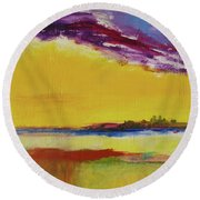 Round Beach Towel featuring the painting Orchid Sky by Robin Maria Pedrero