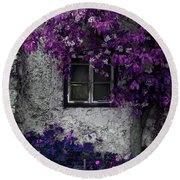 Orchid Vines Window And Gray Stone Round Beach Towel by Brooke T Ryan