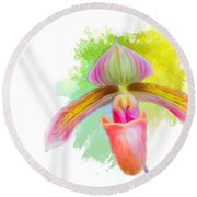 Orchid Whimsy Round Beach Towel