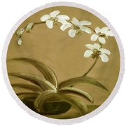 Orchids 3 Round Beach Towel