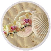Orchids And Shells On The Beach Round Beach Towel by Gill Billington