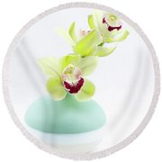 Orchids In Blue Jar Round Beach Towel