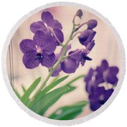 Round Beach Towel featuring the photograph Orchids In Purple  by Ana V Ramirez