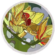 Orchids In Sunlight Round Beach Towel