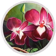 Orchids In The Night Round Beach Towel