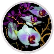 Round Beach Towel featuring the photograph Orchids In Water Color by Diana Mary Sharpton