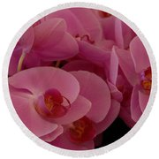 Round Beach Towel featuring the photograph Orchids by Jenny Potter