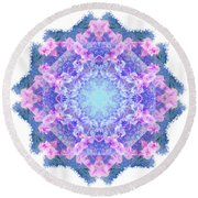 Orchids Mandala Round Beach Towel