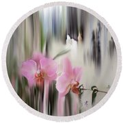 Orchids With Dragonflies Round Beach Towel