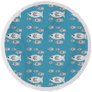 Orderly Formation - School Of Fish Round Beach Towel