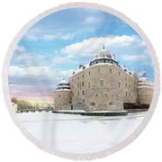 Orebro Castle Round Beach Towel by Marius Sipa
