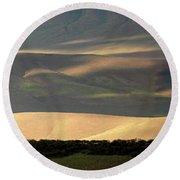 Round Beach Towel featuring the photograph Oregon Canyon Mountain Layers And Textures by Leland D Howard